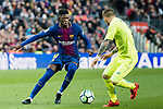 Ousmane Dembele of FC Barcelona (L) fights for the ball with Vitorino Gabriel Pacheco Antunes of Getafe CF (R) during the La Liga 2017-18 match between FC Barcelona and Getafe FC at Camp Nou on 11 February 2018 in Barcelona, Spain. Photo by Vicens Gimenez / Power Sport Images