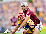 John Conlon of Clare in action against Daithi Burke of Galway during their All-Ireland semi-final replay at Semple Stadium,Thurles. Photograph by John Kelly.