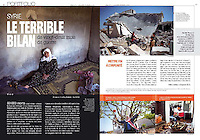 Faim Développement Magazine (FDM), French magazine of CCFD-Terre Solidaire NGO, on the human toll in Syria, January/February 2013.<br /> Photos: Timo Vogt