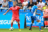 Deportivo de la Coruna's Juanfran Moreno (r) and Real Sociedad's Sergio Canales during La Liga match. September 10,2017.  *** Local Caption *** © pixathlon<br /> Contact: +49-40-22 63 02 60 , info@pixathlon.de