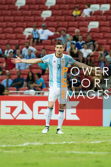 Lucas Alario of Argentina gestures during the International Test match between Argentina and Singapore at National Stadium on June 13, 2017 in Singapore. Photo by Marcio Rodrigo Machado / Power Sport Images