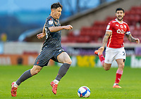 21st November 2020, Oakwell Stadium, Barnsley, Yorkshire, England; English Football League Championship Football, Barnsley FC versus Nottingham Forest; Joe Lolley of Nottingham Forrest running with the ball
