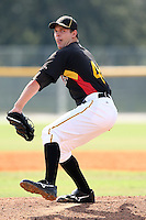 Pittsburgh Pirates minor league pitcher Kevin Decker vs. the Toronto Blue Jays during an Instructional League game at Pirate City in Bradenton, Florida;  October 11, 2010.  Photo By Mike Janes/Four Seam Images