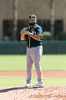 Oakland Athletics relief pitcher Joe DeMers (73) gets ready to deliver a pitch during an Instructional League game against the Los Angeles Dodgers at Camelback Ranch on September 27, 2018 in Glendale, Arizona. (Zachary Lucy/Four Seam Images)