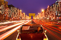 Champs Elysees and Arc de Triomphe Paris, France