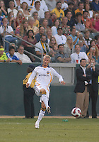 David Beckham makes a pass during his first appearance as a member of the LA Galaxy during the second half of play.  Chelsea won 1-0 over LA Galaxy on Saturday, July 21, 2007 at the Home Depot Center in Carson, CA.