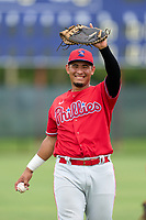 Philadelphia Phillies Oscar Gonzalez (7) during warmups before an Extended Spring Training game against the New York Yankees on June 22, 2021 at the Carpenter Complex in Clearwater, Florida. (Mike Janes/Four Seam Images)
