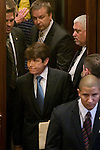Gov. Rod Blagojevich made his first appearance at his Senate impeachment trial on the fourth and last day, refusing to testify but arriving to deliver closing arguments on his own behalf at the Illinois State Capitol in Springfield, Ill., Thursday, January 29, 2009..Kristen Schmid Schurter