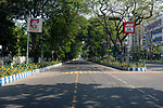 A deserted road at Saltlake city in Kolkata. India is going through the 2nd phase of lockdown due to covid 19 pandemic. This is to curb the spread of Covid 19 in the country. Kolkata, West Bengal, India. Arindam Mukherjee.