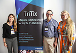 Sarah Hutton (TriTix Leadership and Ticketmaster), Joe Gugliemo (AudienceView) and Bonnie Comley (BroadwayHD) during the 2019 TRITIX Forum at Arts West Building on September 19, 2019 in New York City.