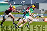 Sean Leahy, Causeway in action against Daniel Collins, Kilmoyley during the Kerry County Senior Hurling Championship Final match between Kilmoyley and Causeway at Austin Stack Park in Tralee