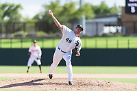 Glendale Desert Dogs relief pitcher Zach Thompson (49), of the Chicago White Sox organization, delivers a pitch during an Arizona Fall League game against the Scottsdale Scorpions at Camelback Ranch on October 16, 2018 in Glendale, Arizona. Scottsdale defeated Glendale 6-1. (Zachary Lucy/Four Seam Images)
