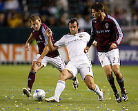 Galaxy midfielder Chris Klein and Colorado Rapids players Colin Clark.(r) and Jordan Harvey (l). LA Galaxy defeated the Colorado Rapids 3-2 at Home Depot Center stadium in Carson, California on Sunday October 12, 2008. Photo by Michael Janosz/isiphotos.com