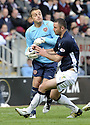 18/04/2009  Copyright Pic: James Stewart.sct_jspa07_falkirk_v_hearts.MARIAN KELLO GETS THE BALL AHEAD OF MICHAEL HIGDON.James Stewart Photography 19 Carronlea Drive, Falkirk. FK2 8DN      Vat Reg No. 607 6932 25.Telephone      : +44 (0)1324 570291 .Mobile              : +44 (0)7721 416997.E-mail  :  jim@jspa.co.uk.If you require further information then contact Jim Stewart on any of the numbers above.........