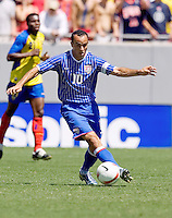 Landon Donovan dribbles the ball during an International Friendly between Ecuador and the USA at Raymond James Stadium, Tampa, Florida on Sunday, March 25, 2007. The USA won 3-1 behind a hat trick by Donovan.