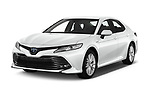 2019 Toyota Camry Premium 4 Door Sedan Angular Front automotive stock photos of front three quarter view