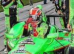 James Hinchcliffe (27) driver of the Team GoDaddy.com car, in action during the IZOD Indycar Firestone 550 race at Texas Motor Speedway in Fort Worth,Texas. Justin Wilson (18) driver of the Sonny's BBQ car wins the Firestone 550 race...