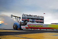 Aug. 19, 2011; Brainerd, MN, USA: NHRA top fuel dragster driver Cory McClenathan does a burnout during qualifying for the Lucas Oil Nationals at Brainerd International Raceway. Mandatory Credit: Mark J. Rebilas-