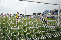 Washington Freedom defender Becky Saverbrum (22) dives to save the goal  from the line.  The LA Sol defeated the Washington Freedom 1-0 at the Maryland Soccerplex, Sunday July 5, 2009.