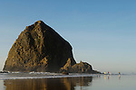 People on the beach at Haystack Rock; Cannon Beach, northern Oregon coast.