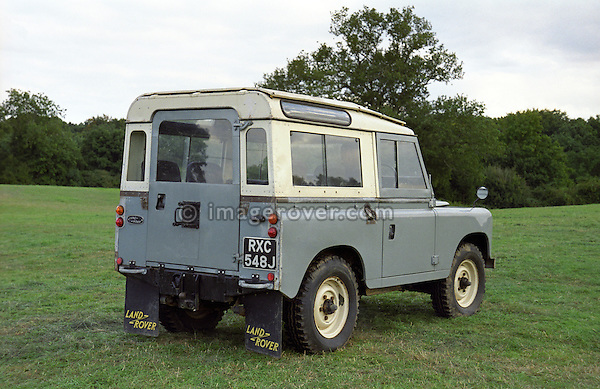 1970 Land Rover Series 3 88in RHD chassis no. 1 fitted by Land Rover engineering with a 2200cc Rover car engine. Dunsfold Collection of Land Rovers Open Day 1999, Dunsfold, Surrey, UK. --- Vehicle History: This vehicle started life as a left hand drive 4-cyl petrol until 1971 when engine options were on the cards. Land Rover enginee ring fitted the ohc car engine as a trial. To do this the vehicle was converted to right hand drive because the carb fouled on the steering box. Apart from hoses, exhaust, air filter, and bell housing it is pretty standard. Performance is nippy but it has no low down torque, however, it is quite economical. --- No releases available, but releases may not be necessary for certain uses. Automotive trademarks are the property of the trademark holder, authorization may be needed for some uses.