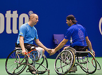 December 20, 2014, Rotterdam, Topsport Centrum, Lotto NK Tennis, Mens doubles wheelchair final, Ronald Vink(L) with his partner Rick Molier<br /> Photo: Tennisimages/Henk Koster