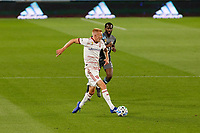 ST PAUL, MN - SEPTEMBER 06: Justen Glad #15 of Real Salt Lake passes the ball during a game between Real Salt Lake and Minnesota United FC at Allianz Field on September 06, 2020 in St Paul, Minnesota.
