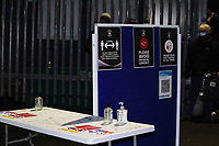 A sanitising station awaits supporters arriving for the Sky Bet Championship match played with 1000 supporters in attendance as a test event after the government relaxed covid-19 sport guidelines in tier 2, between Luton Town and Norwich City at Kenilworth Road, Luton, England on 2 December 2020. Photo by David Horn.