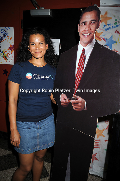 """One Life to Live's January LaVoy with cutout of Barack Obama..at The """"Spare Some Change:NYC Artists for Barack Obama""""  fundraiser on August 11, 2008 at The Fifth Floor Theatre at New York University. ....Robin Platzer, Twin Images"""