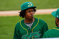 Beloit Snappers shortstop Eric Marinez (2) during a Midwest League game against the Peoria Chiefs on April 15, 2017 at Pohlman Field in Beloit, Wisconsin.  Beloit defeated Peoria 12-0. (Brad Krause/Four Seam Images)