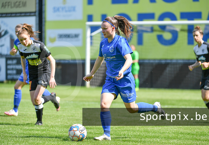 Fleur Pauwels (66) of KRC Genk pictured during a female soccer game between Eendracht Aalst and Racing Genk on the 10 th and last matchday of play off 2 of the 2020 - 2021 season of Belgian Scooore Womens Super League , Saturday 29 st of May 2021  in Aalst , Belgium . PHOTO SPORTPIX.BE | SPP | DAVID CATRY