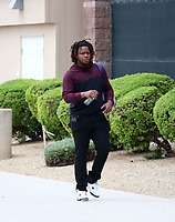 Vladimir Guerrero Jr of the Toronto Blue Jays organization arrives at the Texas Rangers training complex for a workout with the Surprise Saguaros of the Arizona Fall League on October 6, 2018 in Surprise, Arizona (Bill Mitchell)