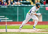 25 July 2017: Vermont Lake Monsters outfielder Greg Deichmann, a 2nd round draft pick for the Oakland Athletics, in action against the Tri-City ValleyCats at Centennial Field in Burlington, Vermont. The Lake Monsters defeated the ValleyCats 11-3 in NY Penn League action. Mandatory Credit: Ed Wolfstein Photo *** RAW (NEF) Image File Available ***