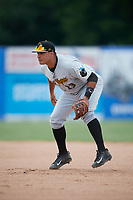 West Virginia Black Bears first baseman Jose Barraza (23) during a game against the Batavia Muckdogs on June 25, 2017 at Dwyer Stadium in Batavia, New York.  Batavia defeated West Virginia 4-1 in nine innings of a scheduled seven inning game.  (Mike Janes/Four Seam Images)