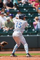 Fernando Garcia #15 of the Wilmington Blue Rocks at bat against the Winston-Salem Dash at the BB&T Park April25, 2010, in Winston-Salem, North Carolina.  Photo by Brian Westerholt / Four Seam Images