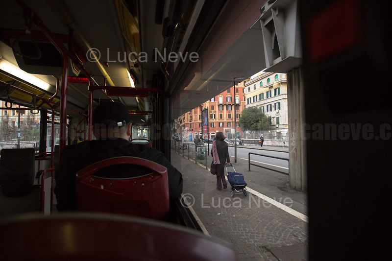 Via Prenestina.<br /> <br /> Rome, Italy. 17th Mar, 2021. Documenting Rome from a Bus window (Number 81) and during a quick walk in the City center, while the new and tougher Covid-19 restrictions, imposed by Mario Draghi's Government, have been implemented since Monday morning in Rome, its surrounding Lazio Region, and other 9 Regions, including: Lombardia, Campania, Molise, Emilia Romagna, Friuli-Venezia Giulia, Marche, Piemonte, Puglia, Veneto and Autonomous Province of Trento. The local authorities tightened rules and restrictions due to a spike in the Covid-19 / Coronavirus cases. A new self-certification (autocertificazione, downloadable from here 1.) is needed to leave home which is allowed only for urgent reasons, mainly work and health. Italy will be placed under nationwide lockdown over the Easter weekend. <br /> <br /> Footnotes & Links:<br /> 1. http://www.regione.lazio.it/binary/rl_main/tbl_news/autocertificazione_1_.pdf