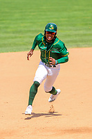Beloit Snappers outfielder JaVon Shelby (5) rounds the bases during a Midwest League game against the Quad Cities River Bandits on June 18, 2017 at Pohlman Field in Beloit, Wisconsin.  Quad Cities defeated Beloit 5-3. (Brad Krause/Four Seam Images)