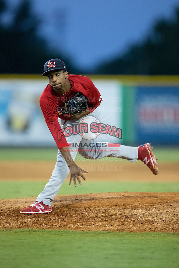 Johnson City Cardinals starting pitcher Ronnie Williams (3) follows through on his delivery against the Burlington Royals at Burlington Athletic Park on August 22, 2015 in Burlington, North Carolina.  The Cardinals defeated the Royals 9-3. (Brian Westerholt/Four Seam Images)