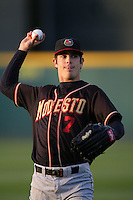 April 14, 2010: Tim Wheeler of the Modesto Nuts before game against the Rancho Cucamonga Quakes at The Epicenter in Rancho Cucamonga,CA.  Photo by Larry Goren/Four Seam Images
