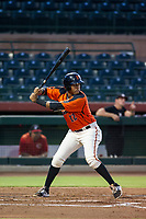 AZL Giants designated hitter Beicker Mendoza (12) at bat against the AZL Reds on August 12, 2017 at Scottsdale Stadium in Scottsdale, Arizona. AZL Giants defeated the AZL Reds 1-0. (Zachary Lucy/Four Seam Images)