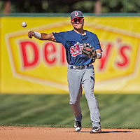 5 September 2016: Lowell Spinners infielder Carlos Tovar in action against the Vermont Lake Monsters at Centennial Field in Burlington, Vermont. The Monsters defeated the Spinners 9-5 to close out their 2016 NY Penn League season. Mandatory Credit: Ed Wolfstein Photo *** RAW (NEF) Image File Available ***