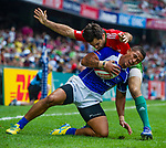 Samoa play Portugal on Day 2 of the Cathay Pacific / HSBC Hong Kong Sevens 2013 on 23 March 2013 at Hong Kong Stadium, Hong Kong. Photo by Manuel Queimadelos / The Power of Sport Images