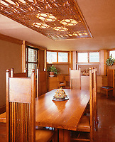 Frank Lloyd Wright: Frank Lloyd Wright Home & Studio, Oak Park.  Dining room, 1895. Arts & Crafts style. (Ref. H. K. Barnett)