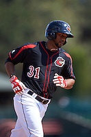 Rochester Red Wings outfielder Aaron Hicks (31) runs the bases after hitting a home run during a game against the Norfolk Tides on May 3, 2015 at Frontier Field in Rochester, New York.  Rochester defeated Norfolk 7-3.  (Mike Janes/Four Seam Images)
