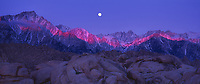 902000002 panoramic view - predawn alpenglow lights up mount whitney and the eastern sierras in the alabama hills bureau of land management lands near lone pine in kern county california