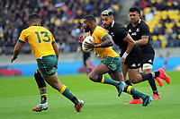 Australia's Marika Koroibete in action during the Bledisloe Cup rugby union match between the New Zealand All Blacks and Australia Wallabies at Sky Stadium in Wellington, New Zealand on Sunday, 11 October 2020. Photo: Dave Lintott / lintottphoto.co.nz