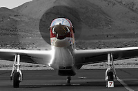 """P-51 Mustang Air Racer """"Strega"""" runs up the RPM's after a heat race at the 2012 Reno National Championship Air Races."""