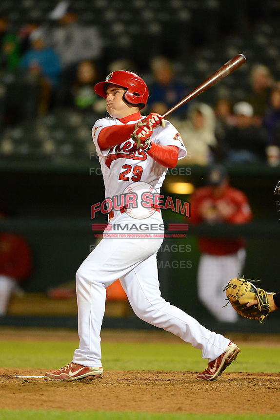 Peoria Chiefs first baseman Patrick Wisdom #29 during a game against the Wisconsin Timber Rattlers on May 25, 2013 at Dozer Park in Peoria, Illinois.  Peoria defeated Wisconsin 6-0.  (Mike Janes/Four Seam Images)