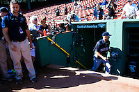 BOSTON, MASS. - SEPT. 28, 2014: Derek Jeter enters the dugout before the New York Yankees and Boston Red Sox play at Fenway Park. The game is last game of Derek Jeter's career. M. Scott Brauer for The New York Times