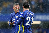 Chelsea's Mason Mount celebrates their victory at the end of the match with Ben Chilwell during Chelsea vs Southampton, Premier League Football at Stamford Bridge on 2nd October 2021